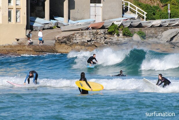 Bondi Beach whitewater and green wave surfing