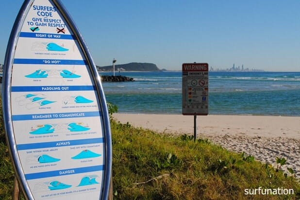 Currumbin surf etiquette sign