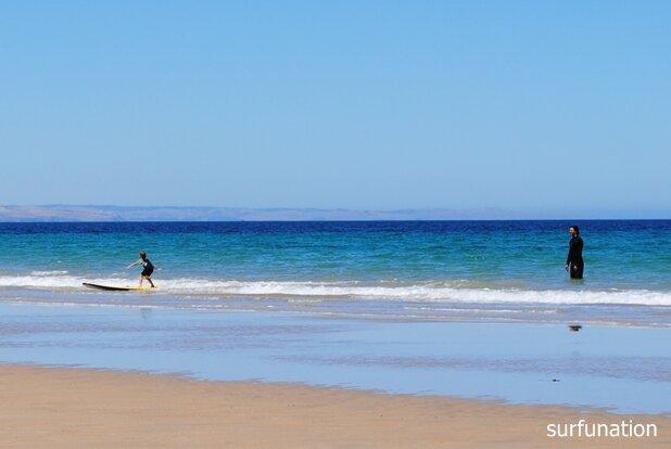 Moana Beach kid surfing fun